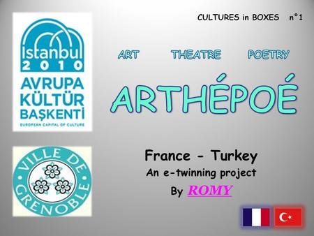 CULTURES in BOXES n°1 France - Turkey An e-twinning project By ROMY.
