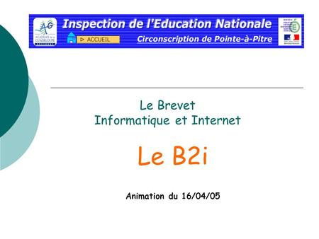 Le Brevet Informatique et Internet Le B2i Animation du 16/04/05.