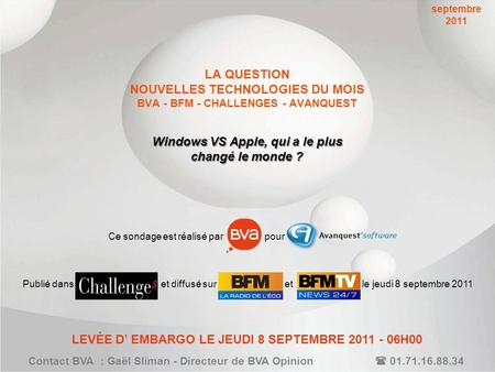 LA QUESTION NOUVELLES TECHNOLOGIES DU MOIS BVA - BFM - CHALLENGES - AVANQUEST Windows VS Apple, qui a le plus changé le monde ? Contact BVA : Gaël Sliman.