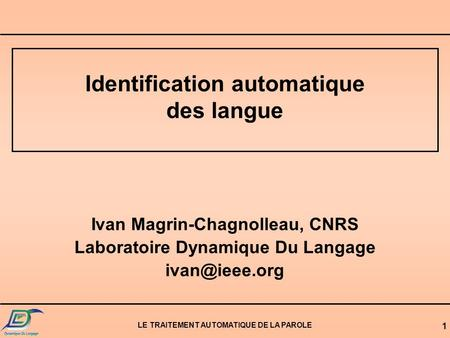 Identification automatique des langue