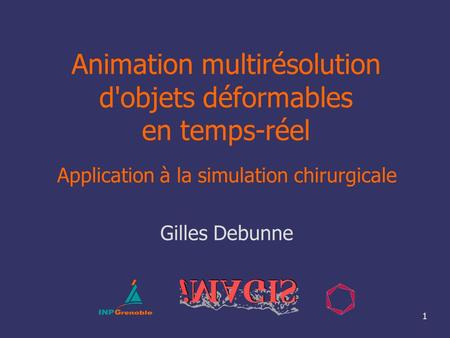 1 Animation multirésolution d'objets déformables en temps-réel Application à la simulation chirurgicale Gilles Debunne.