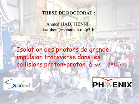 THESE DE DOCTORAT : Ahmed HADJ HENNI