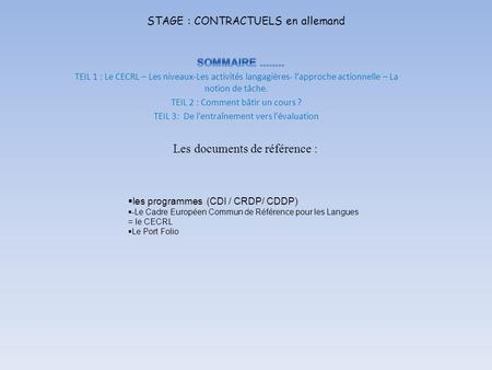 STAGE : CONTRACTUELS en allemand