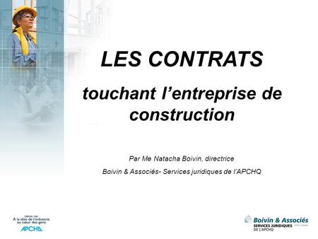 touchant l'entreprise de construction