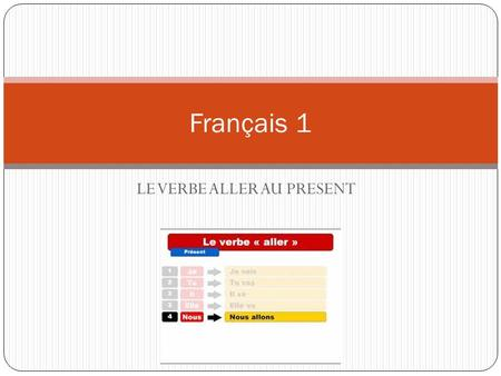 LE VERBE ALLER AU PRESENT Français 1. ATTENTION: Although the verb aller ends in – er, it is not a regular verb but rather a very irregular verb.