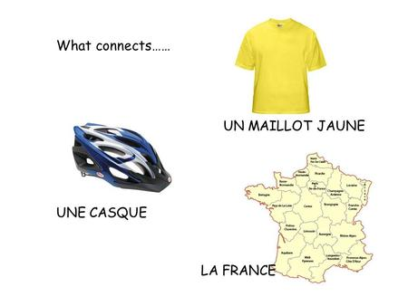 What connects…… UN MAILLOT JAUNE UNE CASQUE LA FRANCE.