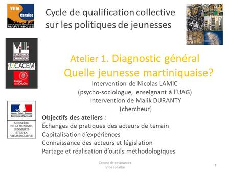 Cycle de qualification collective sur les politiques de jeunesses Atelier 1. Diagnostic général Quelle jeunesse martiniquaise? Intervention de Nicolas.