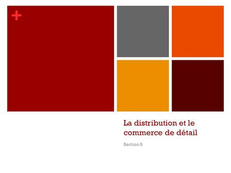 + La distribution et le commerce de détail Section S.