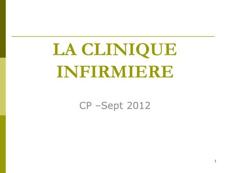 LA CLINIQUE INFIRMIERE