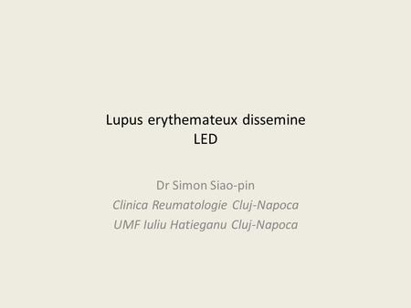 Lupus erythemateux dissemine LED
