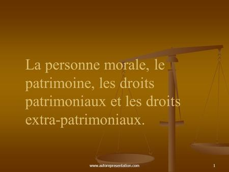 Droits patrimoniaux et extrapatrimoniaux dissertation
