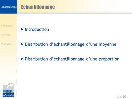 Echantillonnage Introduction
