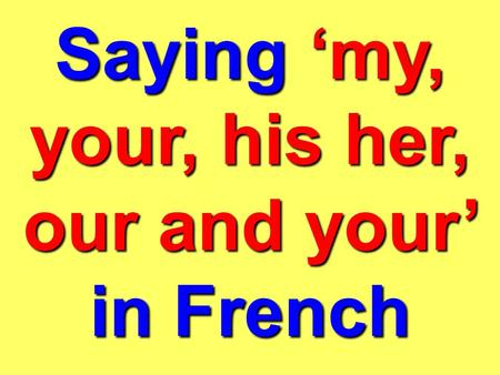Saying my, your, his her, our and your in French.