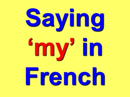 Saying 'my' in French.