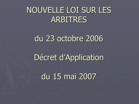 decret du 31 octobre 2006