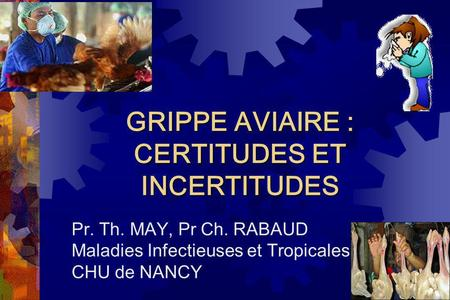 GRIPPE AVIAIRE : CERTITUDES ET INCERTITUDES Pr. Th. MAY, Pr Ch. RABAUD Maladies Infectieuses et Tropicales CHU de NANCY.