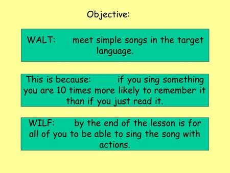 Objective: WILF:by the end of the lesson is for all of you to be able to sing the song with actions. This is because:if you sing something you are 10 times.