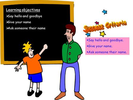 Learning objectives Say hello and goodbye Give your name Ask someone their name Say hello and goodbye. Give your name. Ask someone their name.