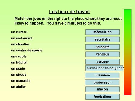 Les lieux de travail Match the jobs on the right to the place where they are most likely to happen. You have 3 minutes to do this. un bureau un restaurant.