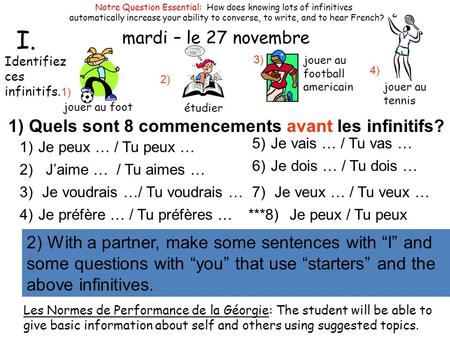 Mercredi – le 29 octobre Notre Question Essential: How does knowing lots of infinitives automatically increase your ability to converse, to write, and.