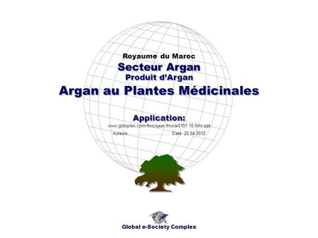 Produit dArgan Royaume du Maroc Global e-Society Complex www.globplex.com/fmo/qaax.fmo/ar0157.10.fmo.ppt Secteur Argan Application: Auteurs: …………………….…