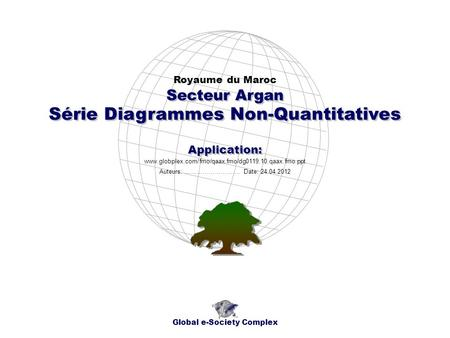 Série Diagrammes Non-Quantitatives Royaume du Maroc Global e-Society Complex www.globplex.com/fmo/qaax.fmo/dg0119.10.qaax.fmo.ppt Secteur Argan Application: