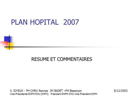 RESUME ET COMMENTAIRES