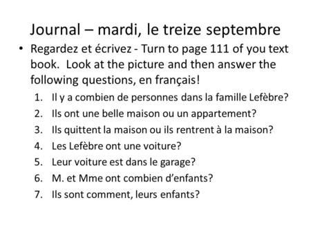 Journal – mardi, le treize septembre