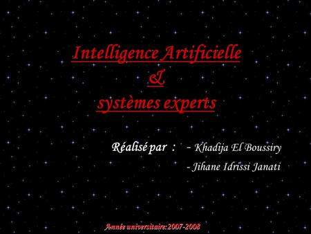 Intelligence Artificielle & systèmes experts