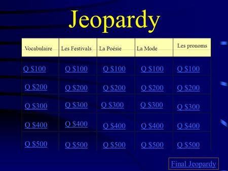 Jeopardy VocabulaireLes FestivalsLa PoésieLa Mode Les pronoms Q $100 Q $200 Q $300 Q $400 Q $500 Q $100 Q $200 Q $300 Q $400 Q $500 Final Jeopardy.