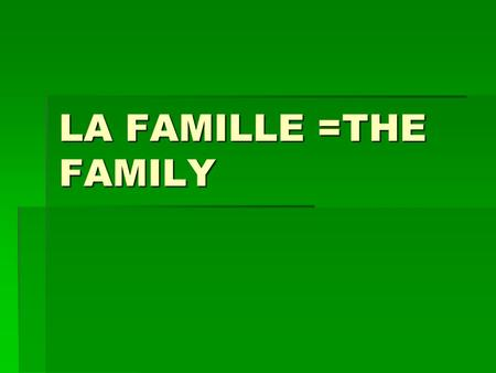 LA FAMILLE =THE FAMILY. vocabulaire Vous êtes en vacances= are you on holidays ? Vous êtes en vacances= are you on holidays ? Affaires= business Affaires=