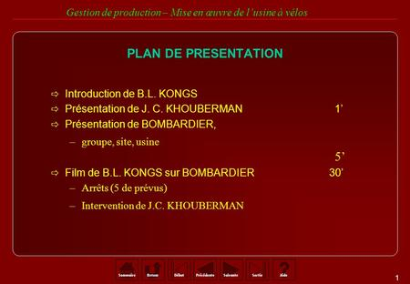 PLAN DE PRESENTATION Introduction de B.L. KONGS