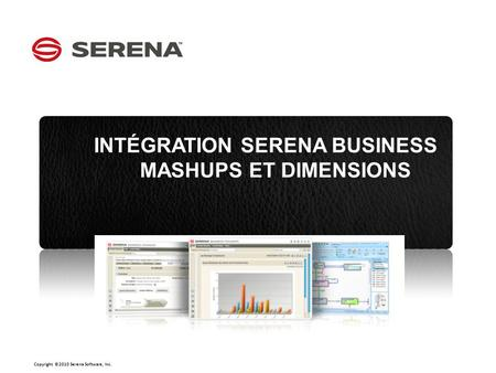 Copyright ©2010 Serena Software, Inc. Click to edit Master subtitle style CLICK TO EDIT MASTER OPTION 1 INTÉGRATION SERENA BUSINESS MASHUPS ET DIMENSIONS.