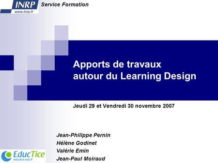 Apports de travaux autour du Learning Design