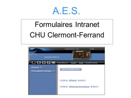 Formulaires Intranet CHU Clermont-Ferrand