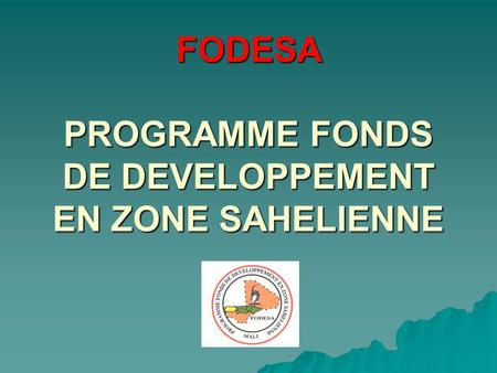 FODESA PROGRAMME FONDS DE DEVELOPPEMENT EN ZONE SAHELIENNE.