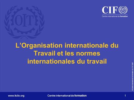 © Centre international de formation de lOIT 2007 www.itcilo.orgCentre international de formation 1 LOrganisation internationale du Travail et les normes.