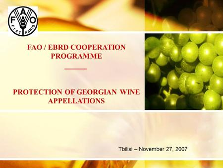 Tbilisi – November 27, 2007 FAO / EBRD COOPERATION PROGRAMME ______ PROTECTION OF GEORGIAN WINE APPELLATIONS.
