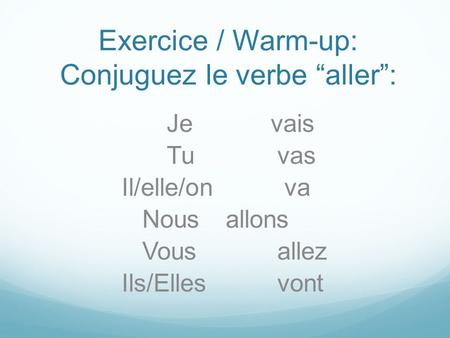 "Exercice / Warm-up: Conjuguez le verbe ""aller"":"