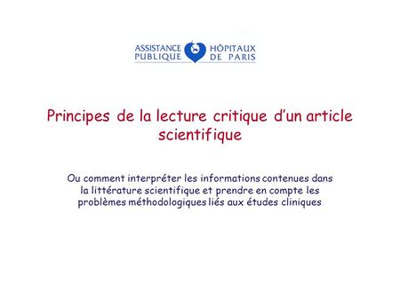 Principes de la lecture critique d'un article scientifique