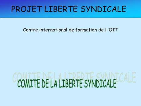 PROJET LIBERTE SYNDICALE Centre international de formation de l OIT.