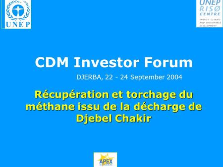 CDM Investor Forum DJERBA, September 2004