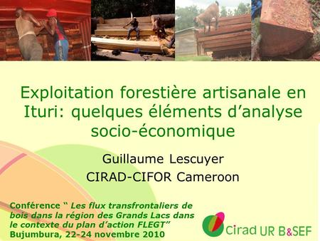 Guillaume Lescuyer CIRAD-CIFOR Cameroon