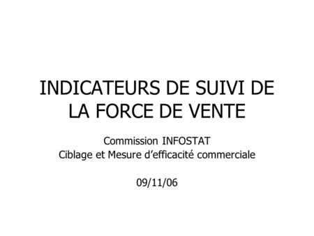 INDICATEURS DE SUIVI DE LA FORCE DE VENTE