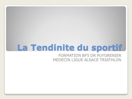 La Tendinite du sportif