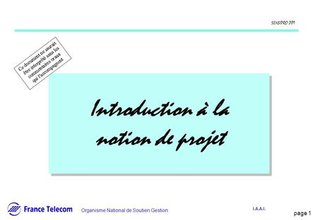 Introduction à la notion de projet