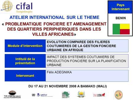Dans les villes africaines 187 du 17 au 21 novembre ppt t 233 l 233 charger