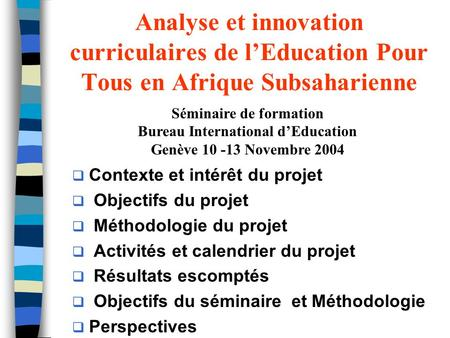 Séminaire de formation Bureau International d'Education