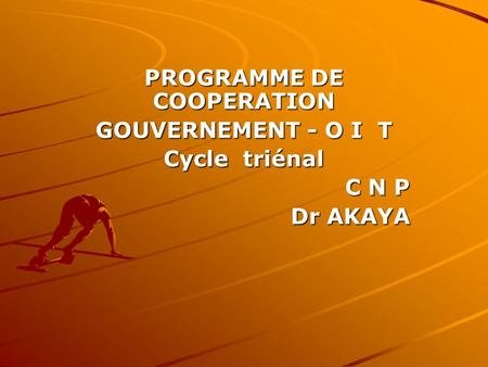 PROGRAMME DE COOPERATION GOUVERNEMENT - O I T Cycle triénal C N P Dr AKAYA.