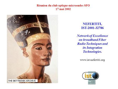 NEFERTITI, IST-2001-32786 Network of Excellence on broadband Fiber Radio Techniques and its Integration Technologies. www.ist-nefertiti.org Réunion du.